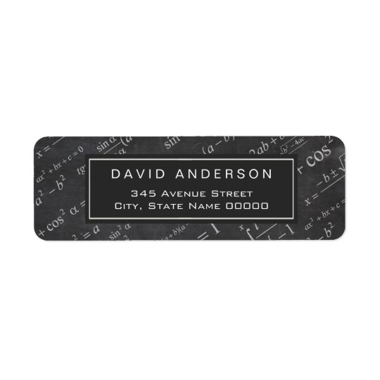 School Math Teacher Mathematics Formula Chalkboard Return Address Label