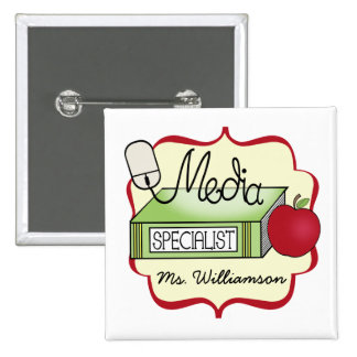 School Media Specialist 15 Cm Square Badge