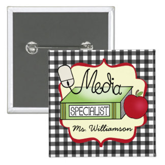 School Media Specialist - Gray Gingham 15 Cm Square Badge
