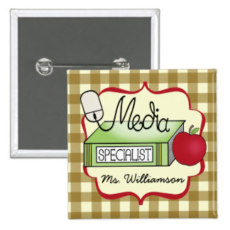 School Media Specialist - Tan Gingham 15 Cm Square Badge
