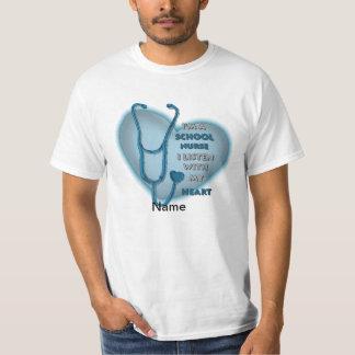 School Nurse Blue Heart value t-shirt