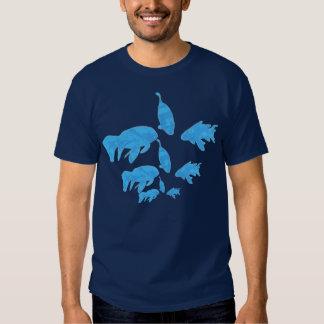 School of Abstract Blue Koi Fish Shirt