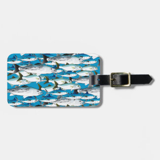 School of Atlantic Surf Fish in blue Luggage Tag