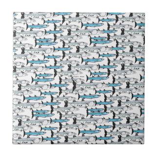 School of Barracuda fish pattern Ceramic Tile