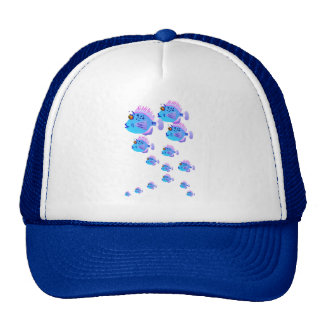 School Of Blue Fish Hat