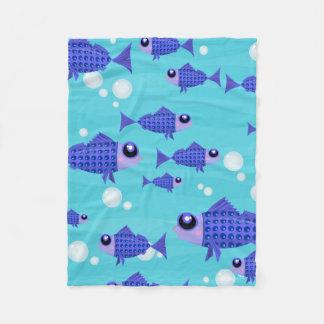 School of Blue Fish Under the Sea Fleece Blanket