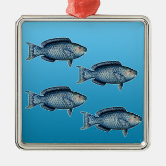 School of Blue Parrotfish Metal Ornament