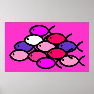 School of Christian Fish Symbols - Pink Poster