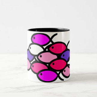 School of Christian Fish Symbols - Pink Two-Tone Coffee Mug