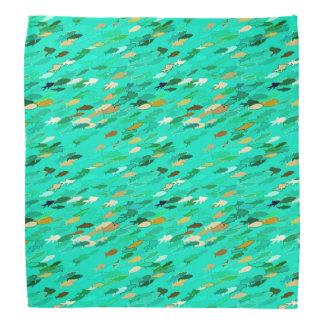 School of fish, aqua, green, gold bandannas