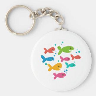 School Of Fish Basic Round Button Key Ring