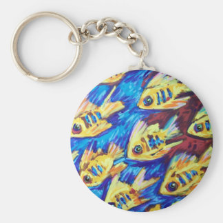 SCHOOL OF FISH BASIC ROUND BUTTON KEY RING