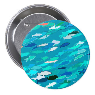 School of fish, blue, white, turquoise pin