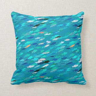 School of fish, blue, white, turquoise throw pillow
