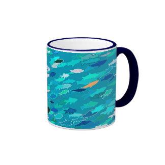School of fish, blue, white, turquoise ringer mug