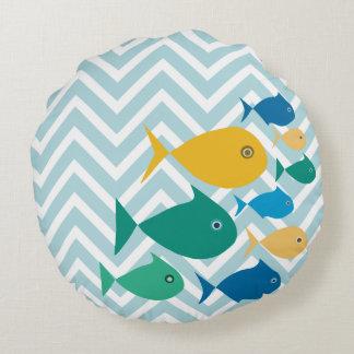 School Of Fish Chevron Round Cushion