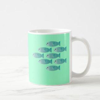 school of fish coffee cup basic white mug
