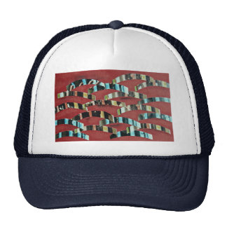 School of fish, mixed media, collage on pastel pap hats