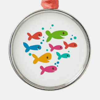 School Of Fish Silver-Colored Round Decoration