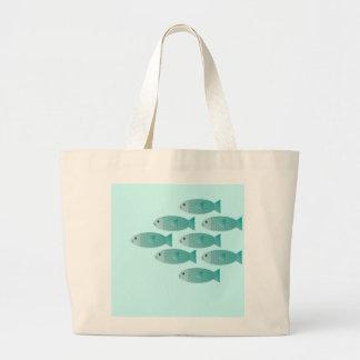 school of fish tote canvas bag