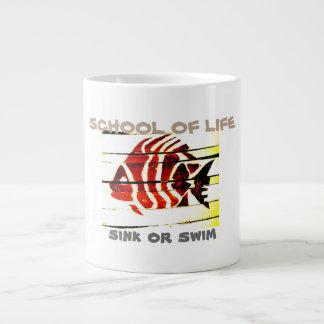 "SCHOOL OF LIFE striped fish ""sink or swim"" MUG Jumbo Mug"