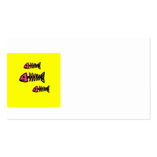 School of Pink Fish Bone Skeletons on Yellow Gifts Business Cards