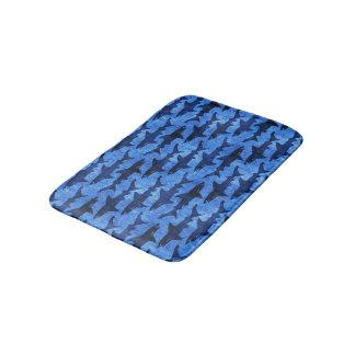 School of Sharks Blue Pattern Bath Mat