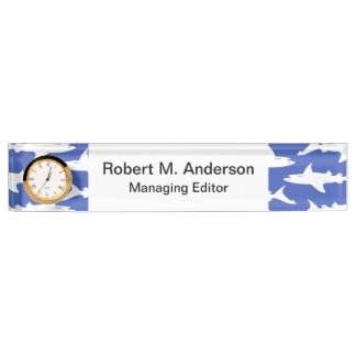 School of Sharks Funny Blue and White Nameplate