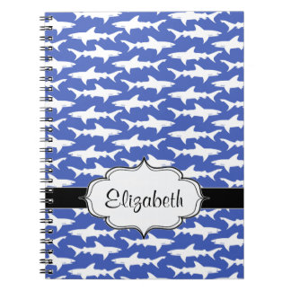 School of Sharks Funny Blue and White Notebooks