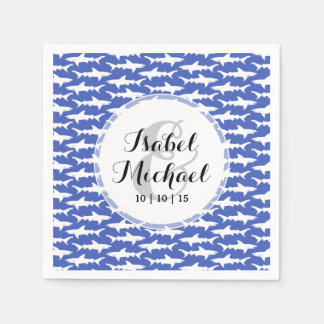 School of Sharks Funny Blue and White Paper Napkin