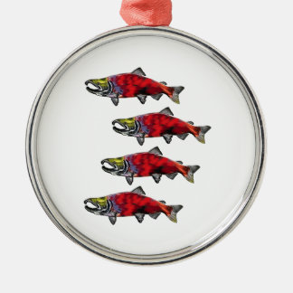 SCHOOL OF SOCKEYE Silver-Colored ROUND DECORATION