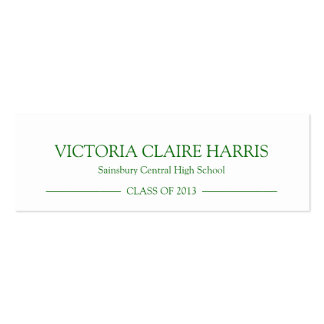 School pride graduation insert name card green business cards