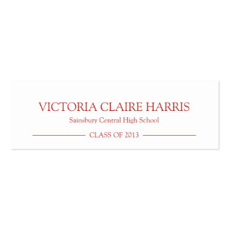 School pride graduation insert name card red business card template