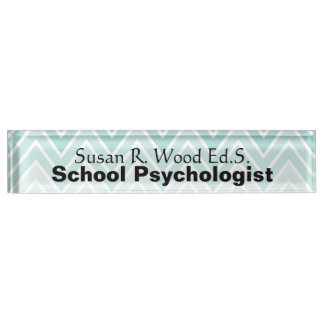 School Psychologist Aqua Ombre Design Nameplate