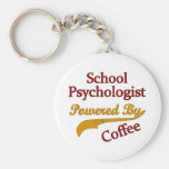 School Psychologist Powered By coffee Basic Round Button Key Ring