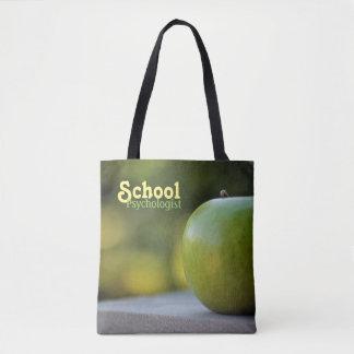 School Psychologist's Green Apple Tote Bag