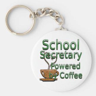 School Secretary Powered by Coffee Key Ring