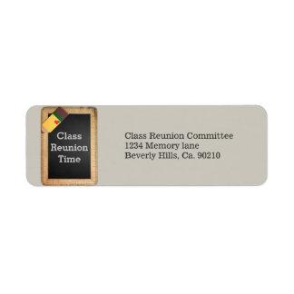 School Supplies Chalkboard Class Reunion Return Address Label