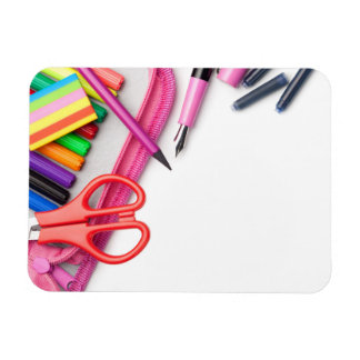School Supplies Isolated on White Background Magnet
