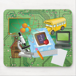 School Supplies & Tools Collage Mouse Pad