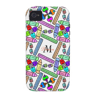 School supply art pattern personalizable vibe iPhone 4 cases
