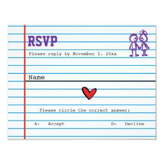 School Sweethearts Wedding Response Card 11 Cm X 14 Cm Invitation Card
