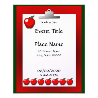 School Teacher Apple Clipboard Small Event Flyer
