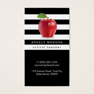 School Teacher Apple Elegant Black White Stripes Business Card