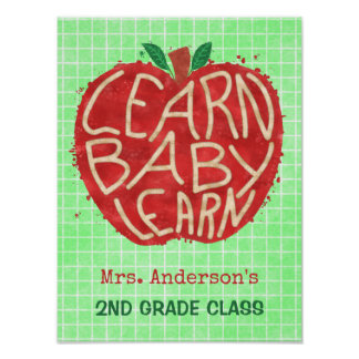 School Teacher Classroom Apple | Learn Baby | Name Poster