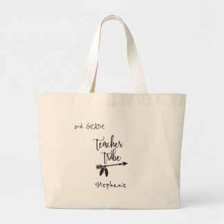 School teacher tribe | name and grade pupil large tote bag