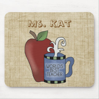 School Theme Best Teacher Apple Fun Mousepad
