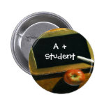 School Theme Chalkboard Apple Pin Button