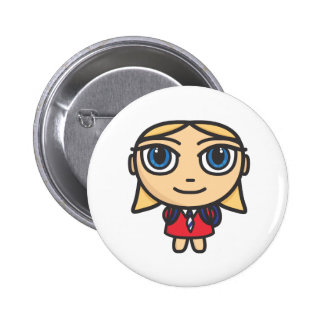 Schoolgirl Cartoon Close up Button Badge