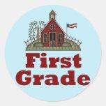 Schoolhouse 1st Grade Round Sticker
